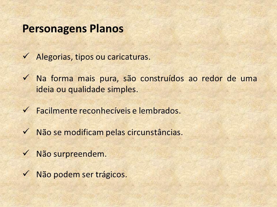 Personagens Planos Alegorias, tipos ou caricaturas.