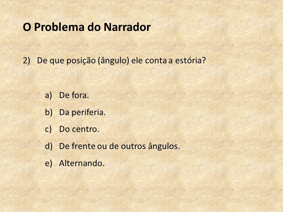 O Problema do Narrador 2)De que posição (ângulo) ele conta a estória.