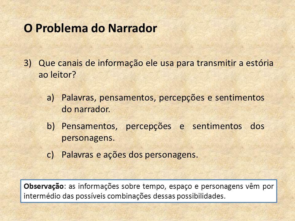 O Problema do Narrador 3)Que canais de informação ele usa para transmitir a estória ao leitor.