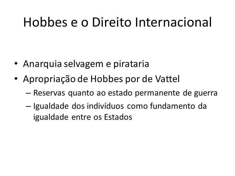 Hobbes e o Direito Internacional Anarquia selvagem e pirataria Apropriação de Hobbes por de Vattel – Reservas quanto ao estado permanente de guerra –
