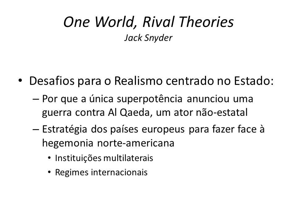 One World, Rival Theories Jack Snyder Desafios para o Realismo centrado no Estado: – Por que a única superpotência anunciou uma guerra contra Al Qaeda