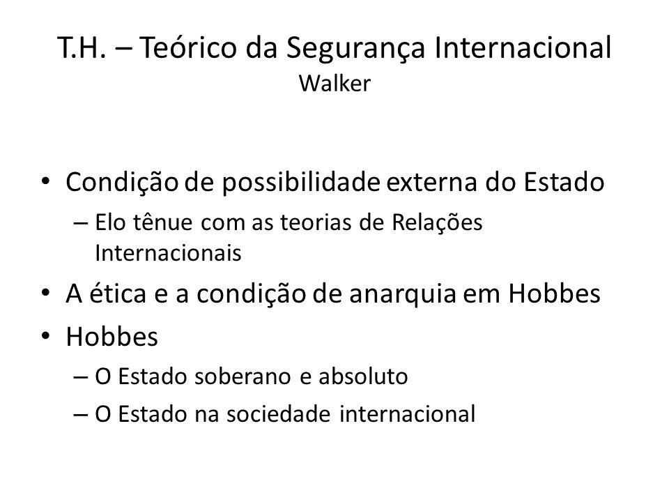 T.H. – Teórico da Segurança Internacional Walker Condição de possibilidade externa do Estado – Elo tênue com as teorias de Relações Internacionais A é