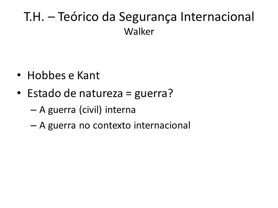 T.H. – Teórico da Segurança Internacional Walker Hobbes e Kant Estado de natureza = guerra? – A guerra (civil) interna – A guerra no contexto internac