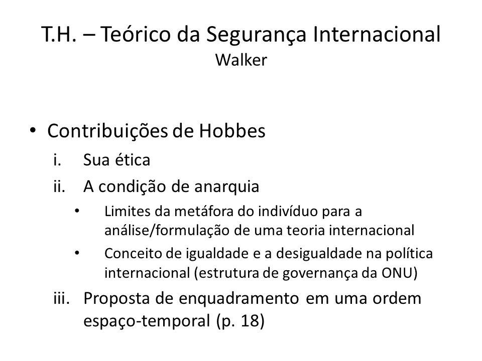 T.H. – Teórico da Segurança Internacional Walker Contribuições de Hobbes i.Sua ética ii.A condição de anarquia Limites da metáfora do indivíduo para a