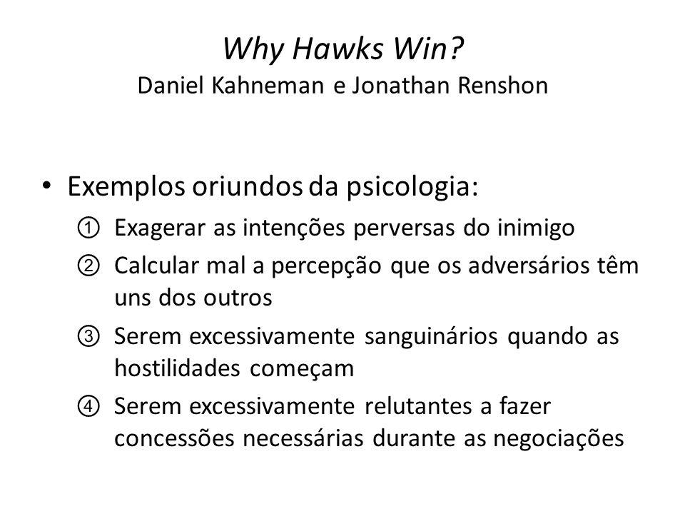Why Hawks Win? Daniel Kahneman e Jonathan Renshon Exemplos oriundos da psicologia: ①Exagerar as intenções perversas do inimigo ②Calcular mal a percepç