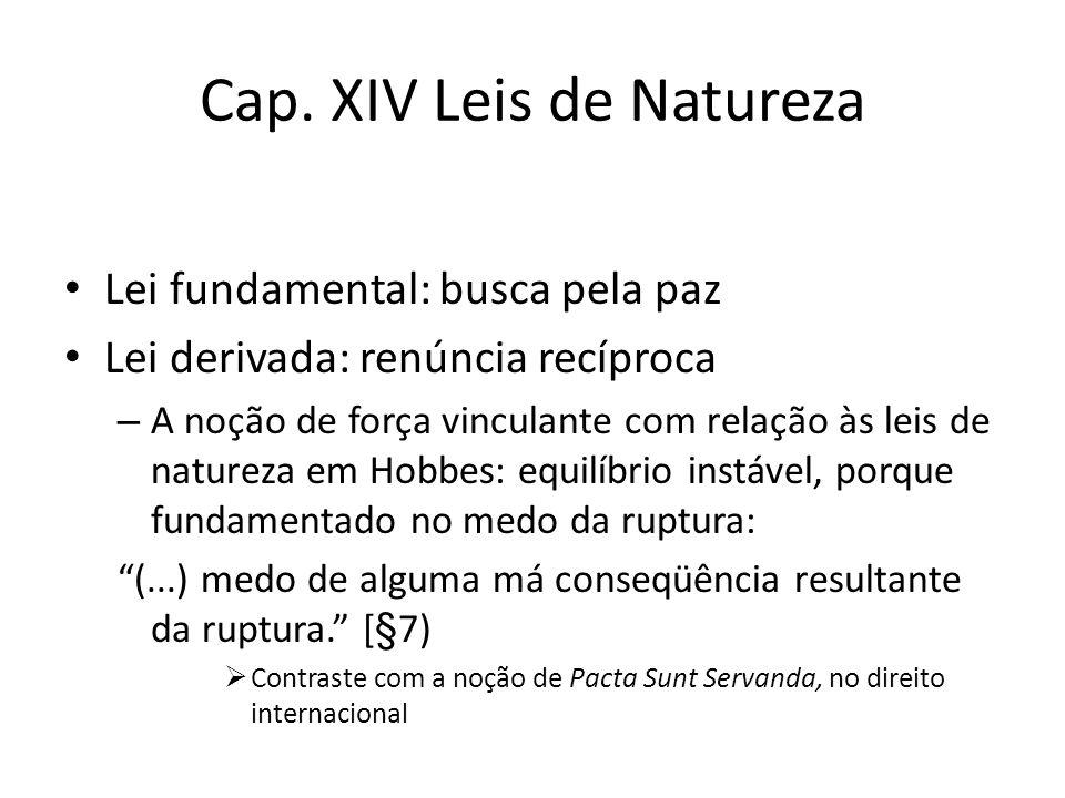 Cap. XIV Leis de Natureza Lei fundamental: busca pela paz Lei derivada: renúncia recíproca – A noção de força vinculante com relação às leis de nature