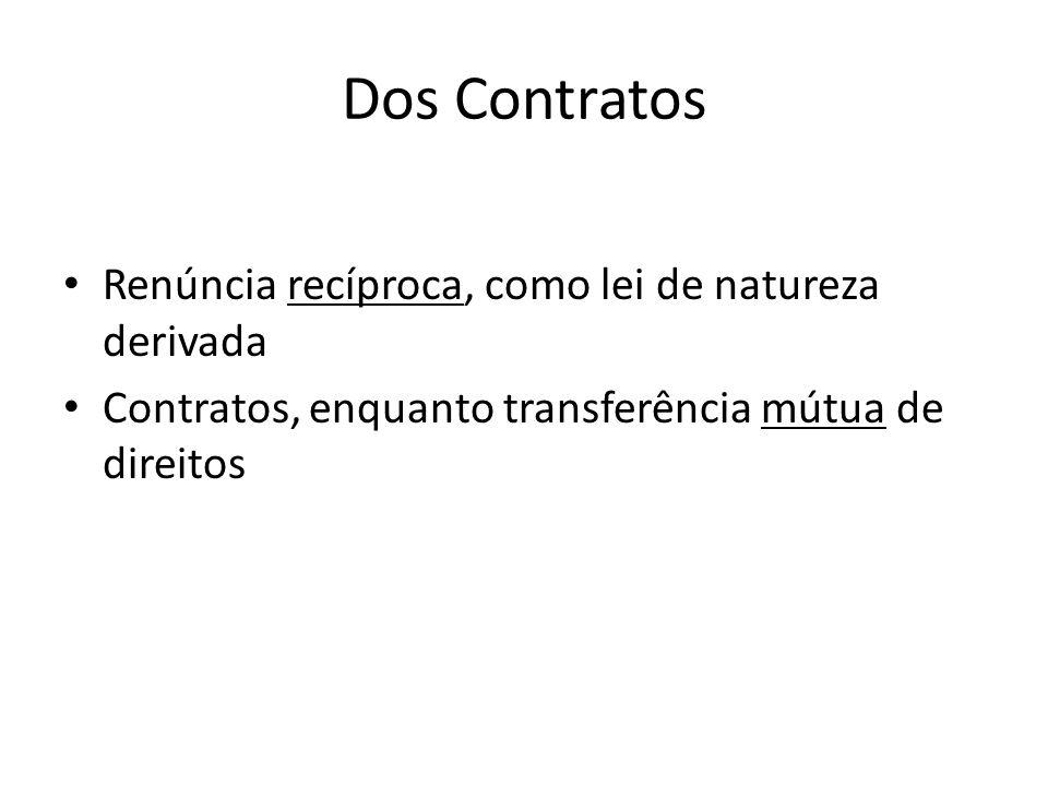 Dos Contratos Renúncia recíproca, como lei de natureza derivada Contratos, enquanto transferência mútua de direitos
