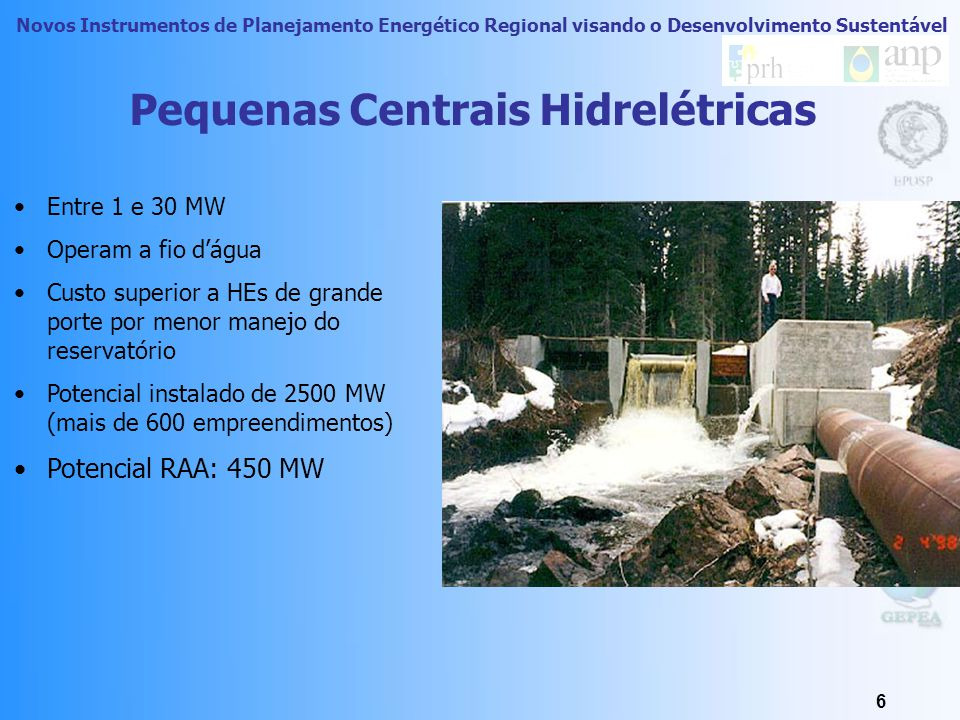 Novos Instrumentos de Planejamento Energético Regional visando o Desenvolvimento Sustentável 5 85,6% da produção de energia elétrica brasileira (BEN 2007).