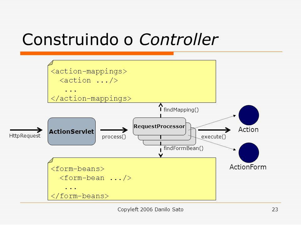 Copyleft 2006 Danilo Sato23 Construindo o Controller ActionServlet RequestProcessor......