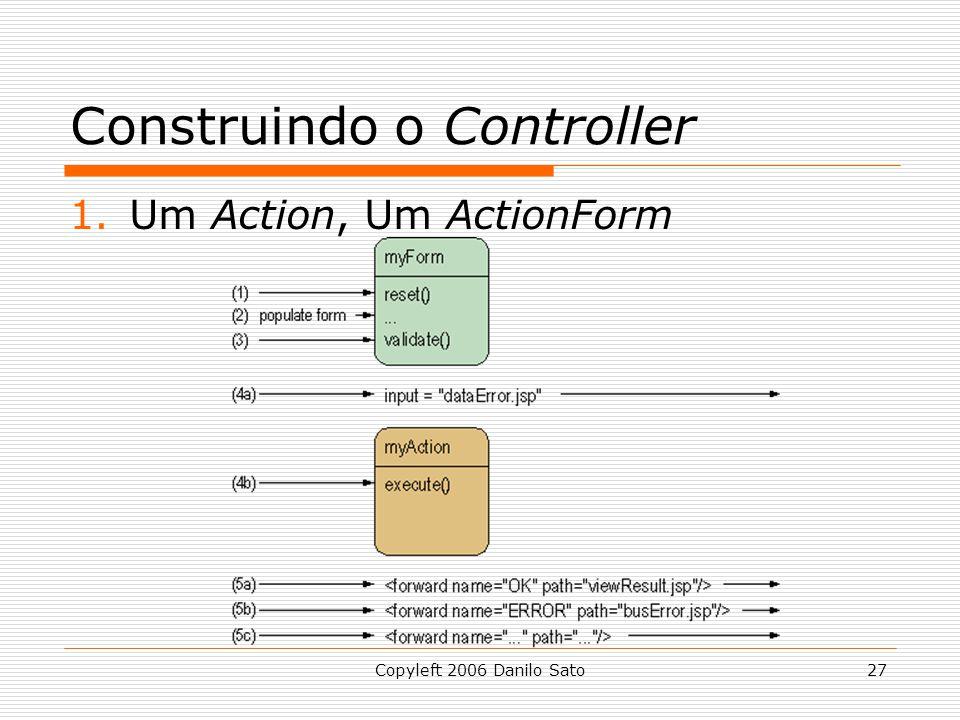 Copyleft 2006 Danilo Sato27 Construindo o Controller 1.Um Action, Um ActionForm