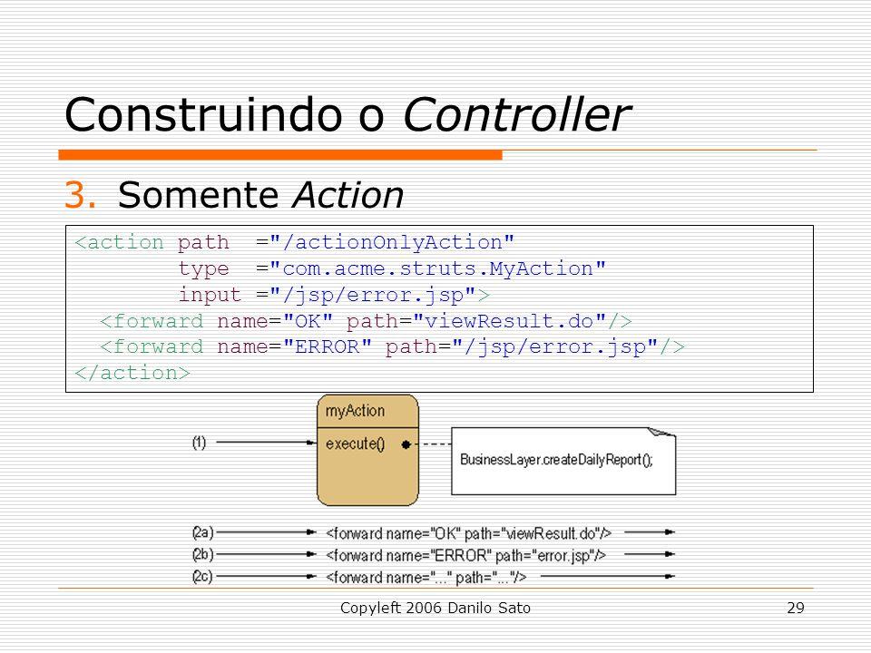 Copyleft 2006 Danilo Sato29 Construindo o Controller 3.Somente Action <action path = /actionOnlyAction type = com.acme.struts.MyAction input = /jsp/error.jsp >