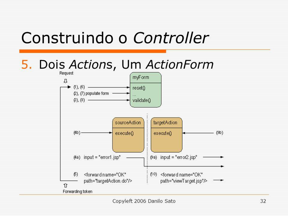 Copyleft 2006 Danilo Sato32 Construindo o Controller 5.Dois Actions, Um ActionForm