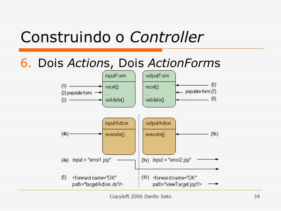 Copyleft 2006 Danilo Sato34 Construindo o Controller 6.Dois Actions, Dois ActionForms