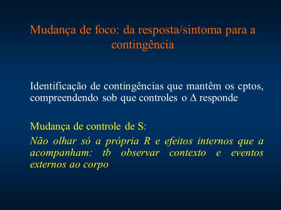 Identificação de contingências que mantêm os cptos, compreendendo sob que controles o Δ responde Mudança de controle de S: Não olhar só a própria R e