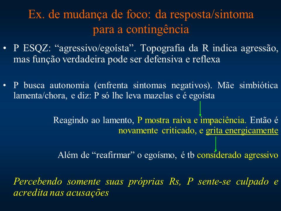 """Ex. de mudança de foco: da resposta/sintoma para a contingência P ESQZ: """"agressivo/egoísta"""". Topografia da R indica agressão, mas função verdadeira po"""