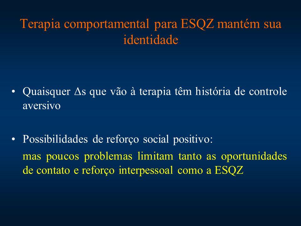 Terapia comportamental para ESQZ mantém sua identidade Quaisquer Δs que vão à terapia têm história de controle aversivo Possibilidades de reforço soci