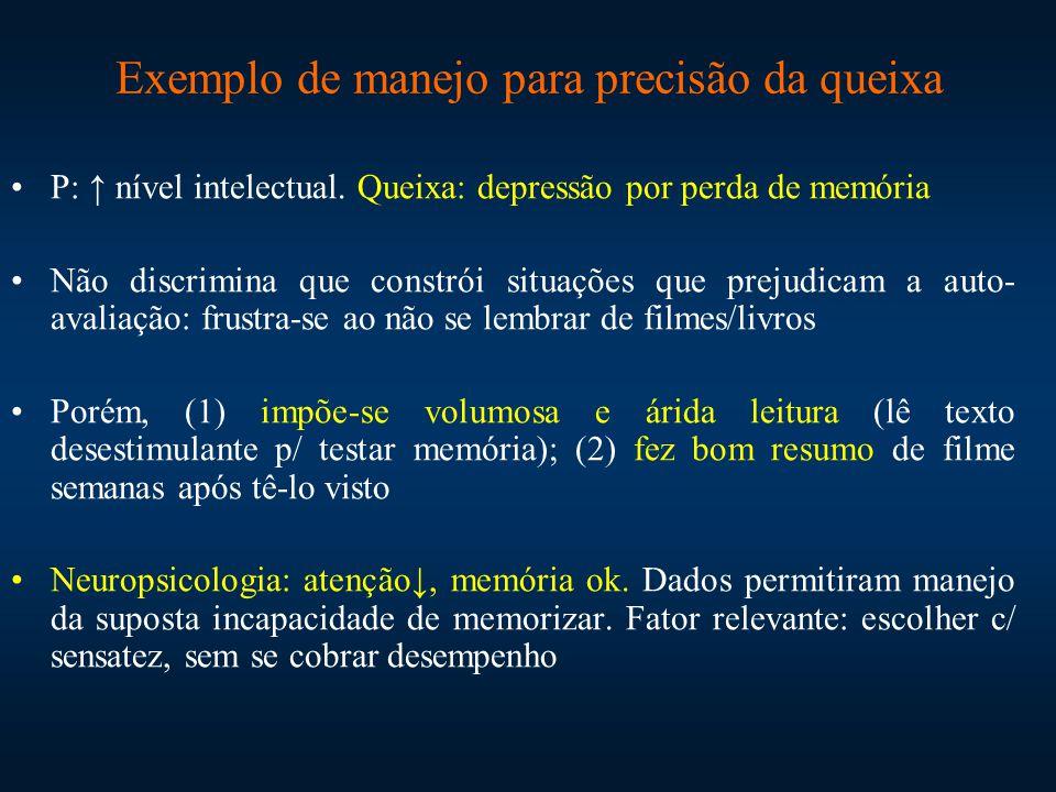 Exemplo de manejo para precisão da queixa P: ↑ nível intelectual. Queixa: depressão por perda de memória Não discrimina que constrói situações que pre