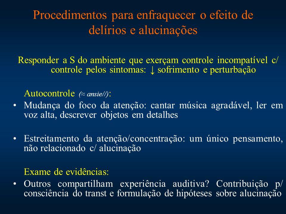 Procedimentos para enfraquecer o efeito de delírios e alucinações Responder a S do ambiente que exerçam controle incompatível c/ controle pelos sintom