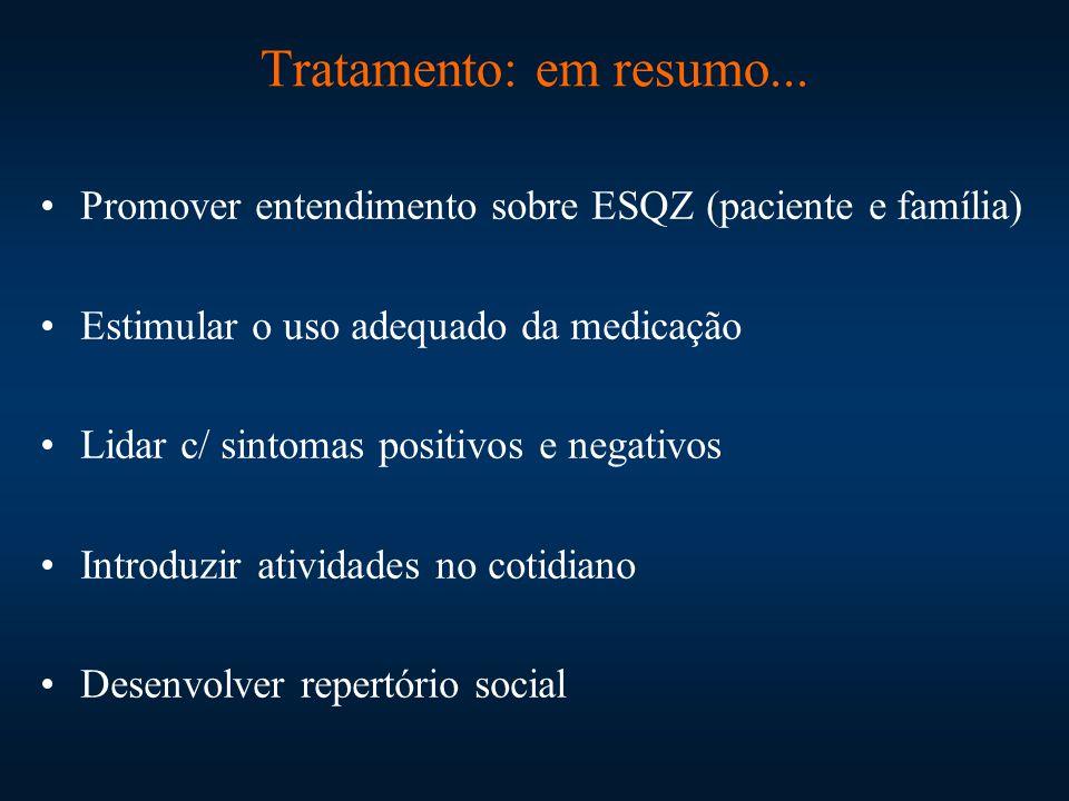 Tratamento: em resumo... Promover entendimento sobre ESQZ (paciente e família) Estimular o uso adequado da medicação Lidar c/ sintomas positivos e neg