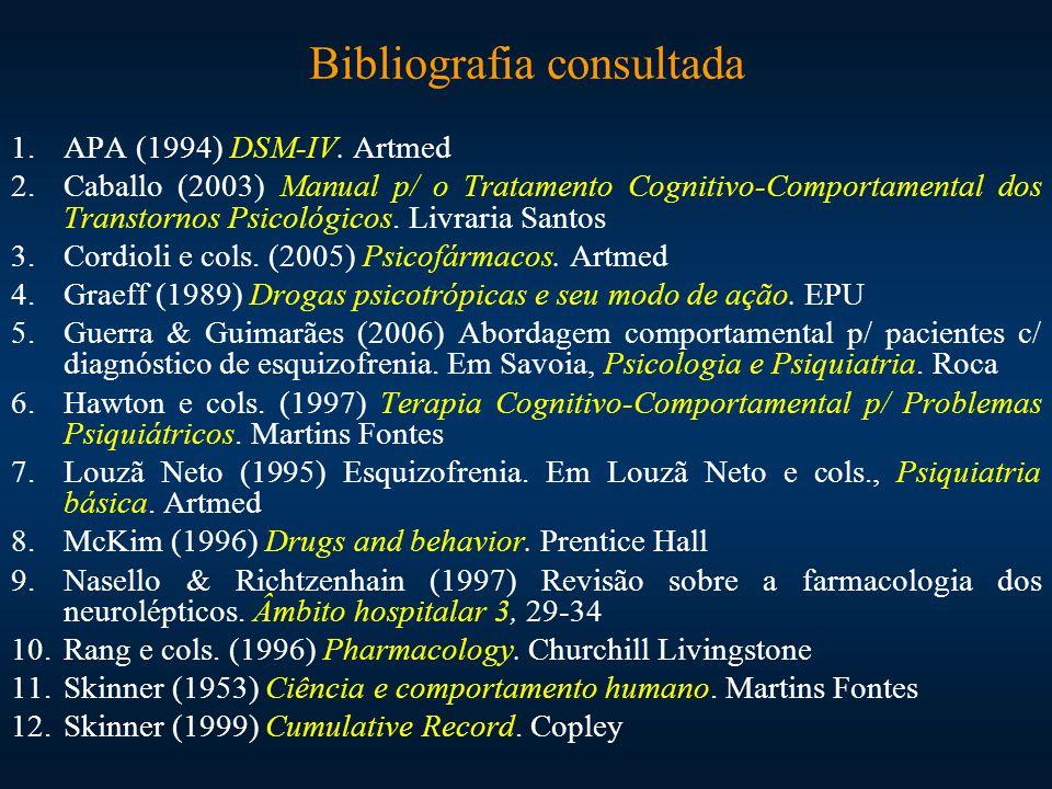Bibliografia consultada 1.APA (1994) DSM-IV. Artmed 2.Caballo (2003) Manual p/ o Tratamento Cognitivo-Comportamental dos Transtornos Psicológicos. Liv