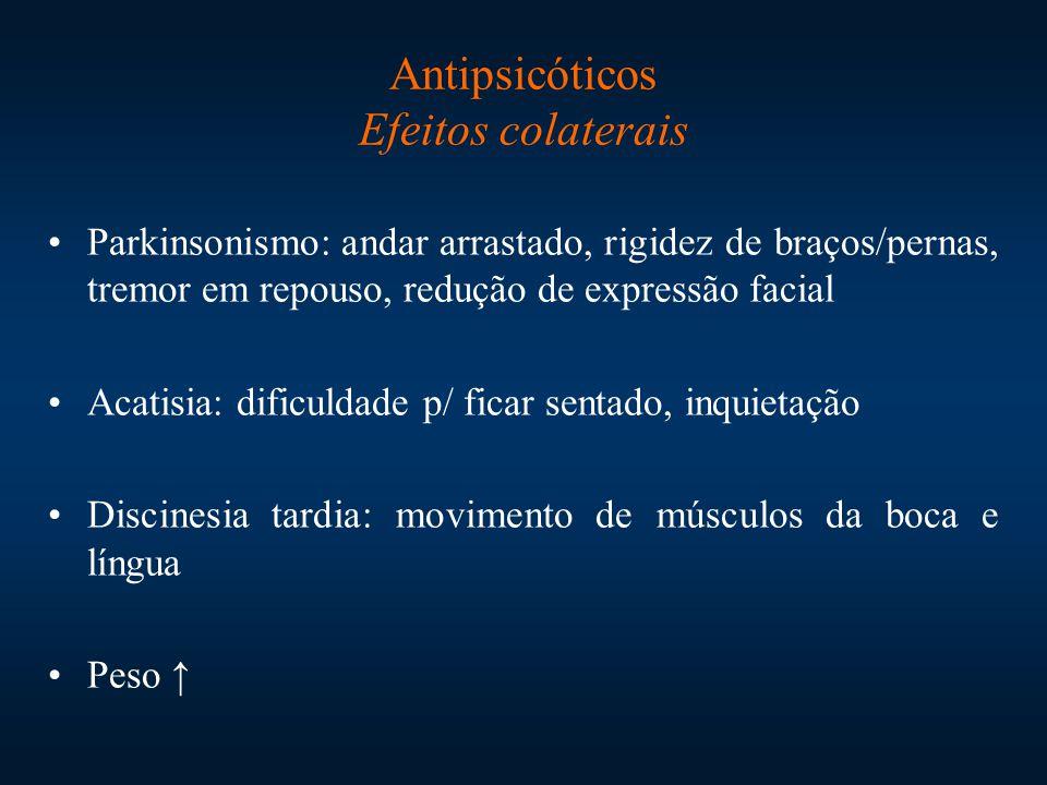 Parkinsonismo: andar arrastado, rigidez de braços/pernas, tremor em repouso, redução de expressão facial Acatisia: dificuldade p/ ficar sentado, inqui