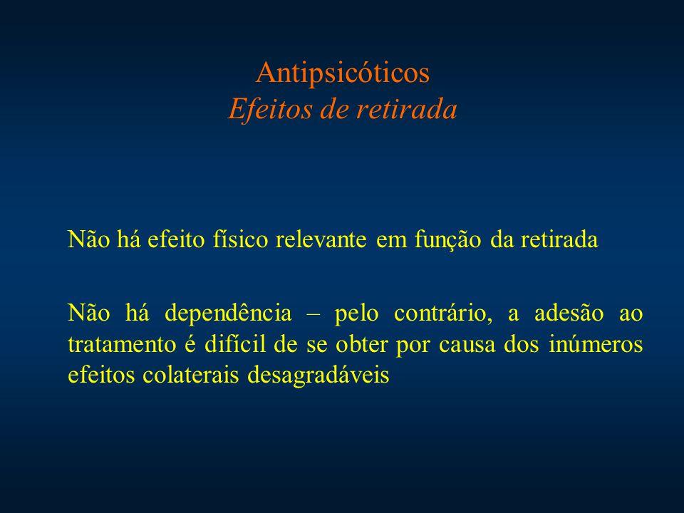 Antipsicóticos Efeitos de retirada Não há efeito físico relevante em função da retirada Não há dependência – pelo contrário, a adesão ao tratamento é difícil de se obter por causa dos inúmeros efeitos colaterais desagradáveis