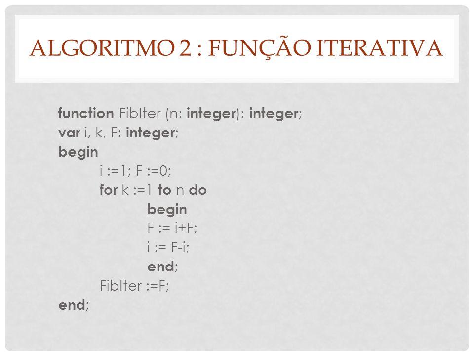 ALGORITMO 2 : FUNÇÃO ITERATIVA function FibIter (n: integer ): integer ; var i, k, F: integer ; begin i :=1; F :=0; for k :=1 to n do begin F := i+F;