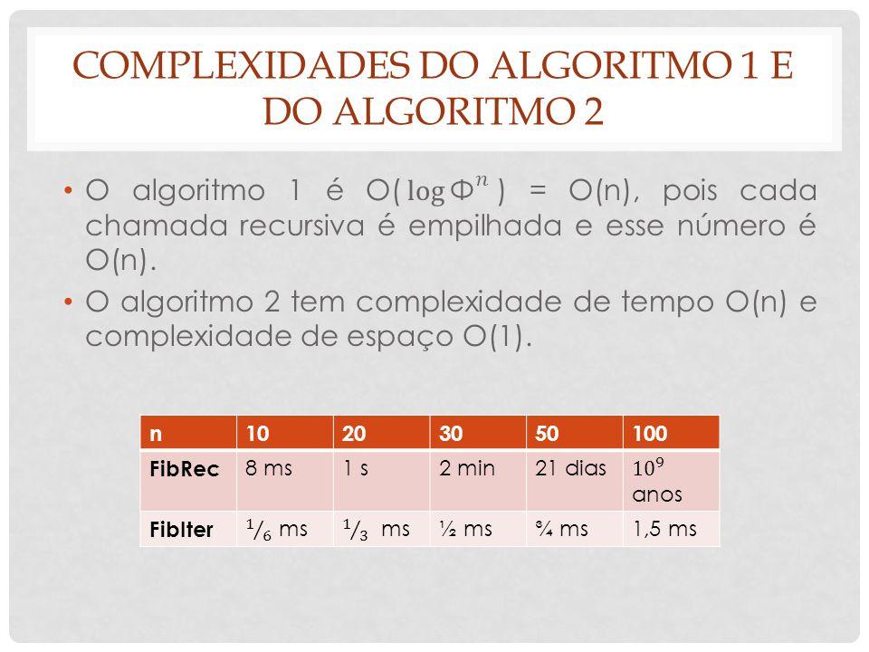 COMPLEXIDADES DO ALGORITMO 1 E DO ALGORITMO 2 n10203050100 FibRec 8 ms1 s2 min21 dias FibIter ½ ms¾ ms1,5 ms