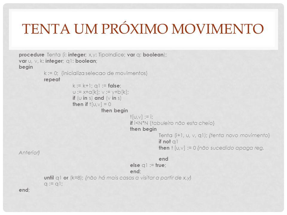 TENTA UM PRÓXIMO MOVIMENTO procedure Tenta (i: integer ; x,y: TipoIndice; var q: boolean ); var u, v, k: integer ; q1: boolean ; begin k := 0; {inicia