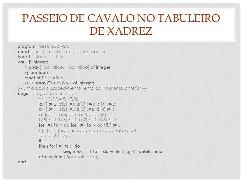 PASSEIO DE CAVALO NO TABULEIRO DE XADREZ program PasseioCavalo; const N=8; {Tamanho do lado do tabuleiro} type TipoIndice = 1..N; var i, j: integer ;