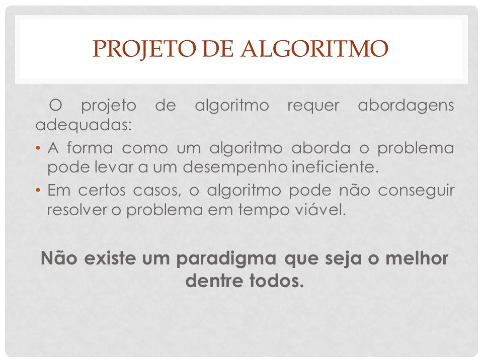 PROJETO DE ALGORITMO O projeto de algoritmo requer abordagens adequadas: A forma como um algoritmo aborda o problema pode levar a um desempenho inefic