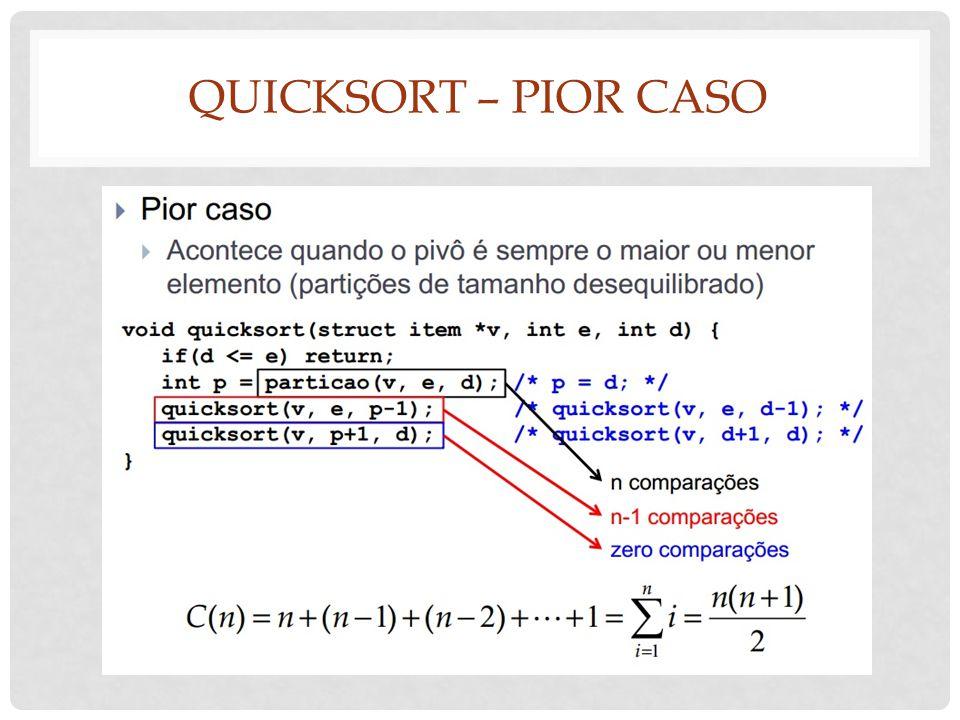 QUICKSORT – PIOR CASO