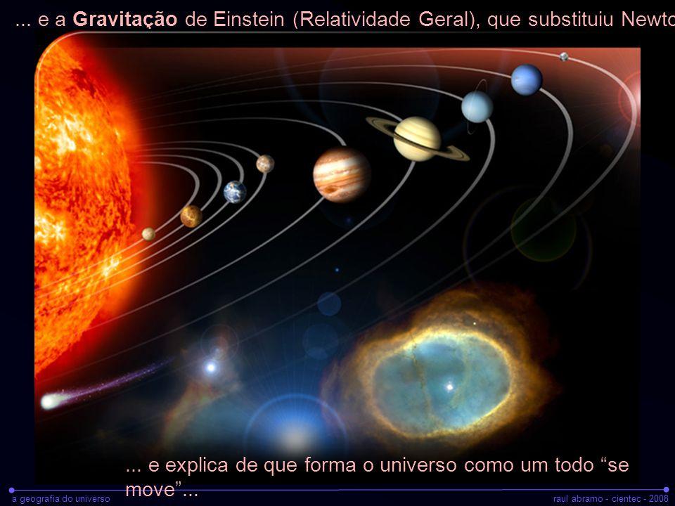 a geografia do universoraul abramo - cientec - 2008 Alguns fatos apurados sobre o universo: Idade do universo: T 0 = 14.3 Bilhões de anos Densidade: ρ 0 = 10 -28 g cm -3 =~ 1 átomo H/ m 3 Parâmetro de expansão: H 0 = 25 Km/s p/ cada 1 milhão de anos-luz) Matéria normal (átomos): 4% (!!!) Só conseguimos enxergar 1/20 de tudo que há no universo!!!