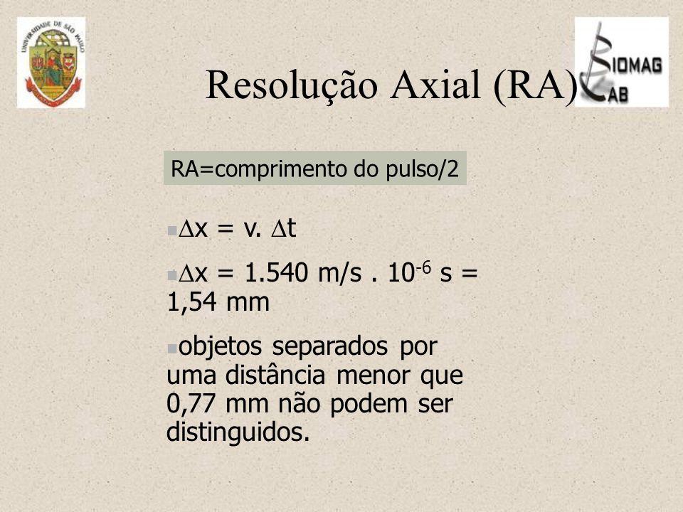 RA=comprimento do pulso/2  x = v. t  x = 1.540 m/s.