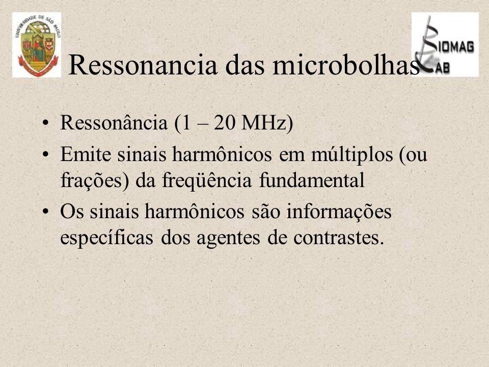 Ressonancia das microbolhas Ressonância (1 – 20 MHz) Emite sinais harmônicos em múltiplos (ou frações) da freqüência fundamental Os sinais harmônicos são informações específicas dos agentes de contrastes.
