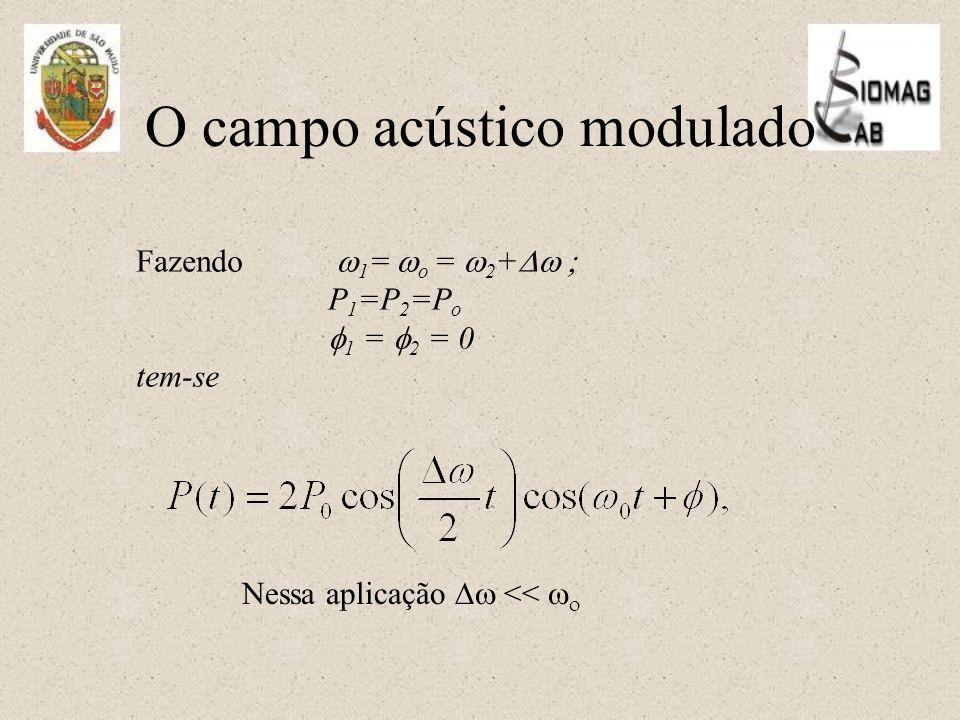 O campo acústico modulado Fazendo  1 =  o =  2 +  P 1 =P 2 =P o  1 =  2 = 0 tem-se Nessa aplicação  <<  