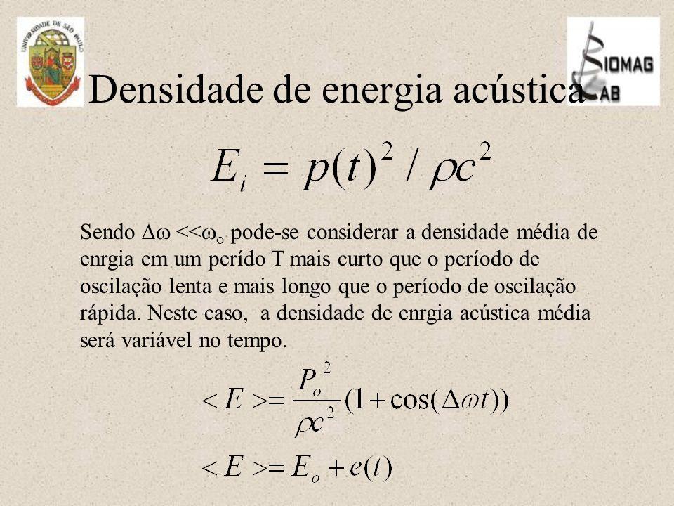 Densidade de energia acústica Sendo  <<   pode-se considerar a densidade média de enrgia em um perído T mais curto que o período de oscilação lenta e mais longo que o período de oscilação rápida.