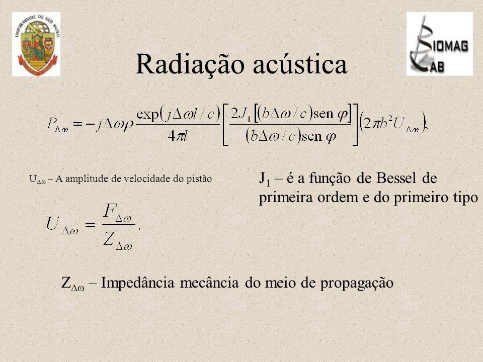 Radiação acústica Z  – Impedância mecância do meio de propagação U  – A amplitude de velocidade do pistão J 1 – é a função de Bessel de primeira ordem e do primeiro tipo