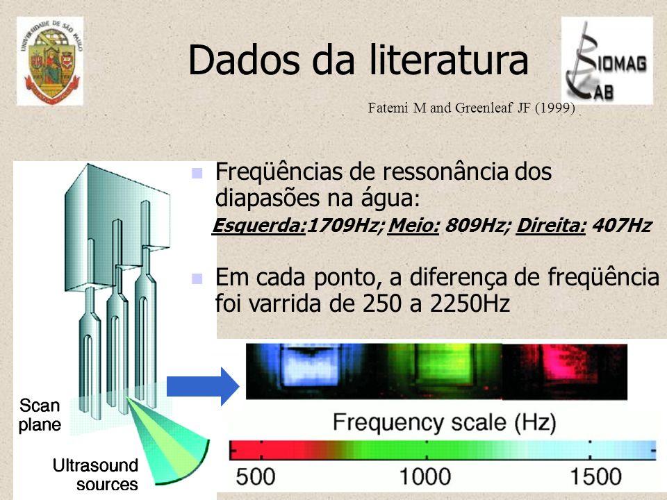 Dados da literatura Em cada ponto, a diferença de freqüência foi varrida de 250 a 2250Hz Freqüências de ressonância dos diapasões na água : Esquerda:1709Hz; Meio: 809Hz; Direita: 407Hz Fatemi M and Greenleaf JF (1999)