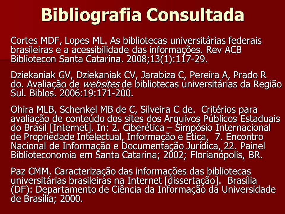 Bibliografia Consultada Cortes MDF, Lopes ML. As bibliotecas universitárias federais brasileiras e a acessibilidade das informações. Rev ACB Bibliotec