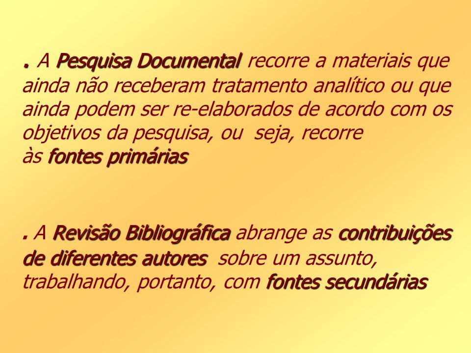 . Pesquisa Documental fontes primárias Revisão Bibliográficacontribuições de diferentes autores fontes secundárias. A Pesquisa Documental recorre a ma