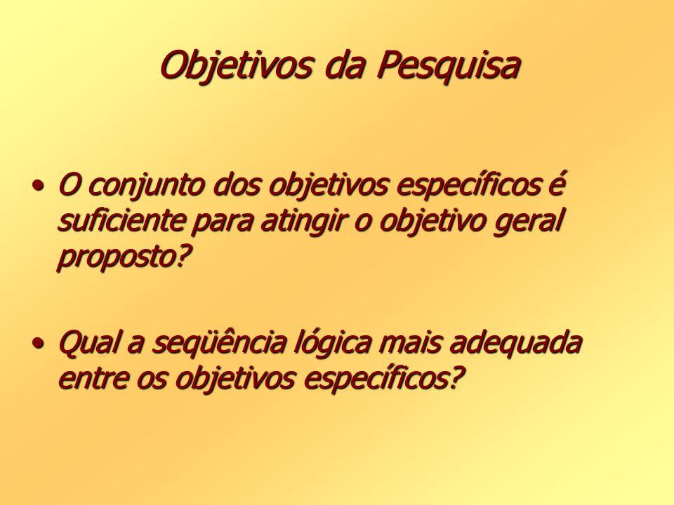 Objetivos da Pesquisa O conjunto dos objetivos específicos é suficiente para atingir o objetivo geral proposto?O conjunto dos objetivos específicos é