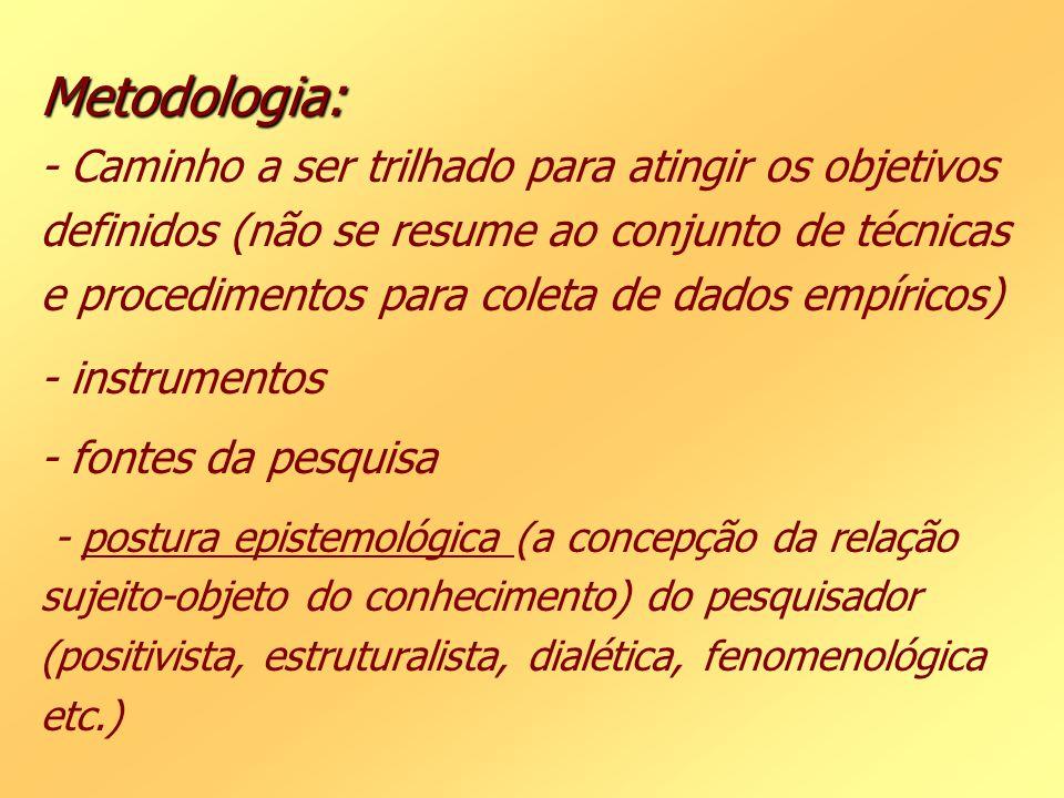 Metodologia: Metodologia: - Caminho a ser trilhado para atingir os objetivos definidos (não se resume ao conjunto de técnicas e procedimentos para col