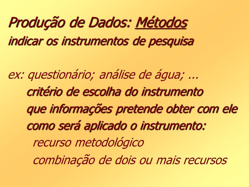 Produção de Dados: Métodos indicar os instrumentos de pesquisa critério de escolha do instrumento que informações pretende obter com ele como será apl