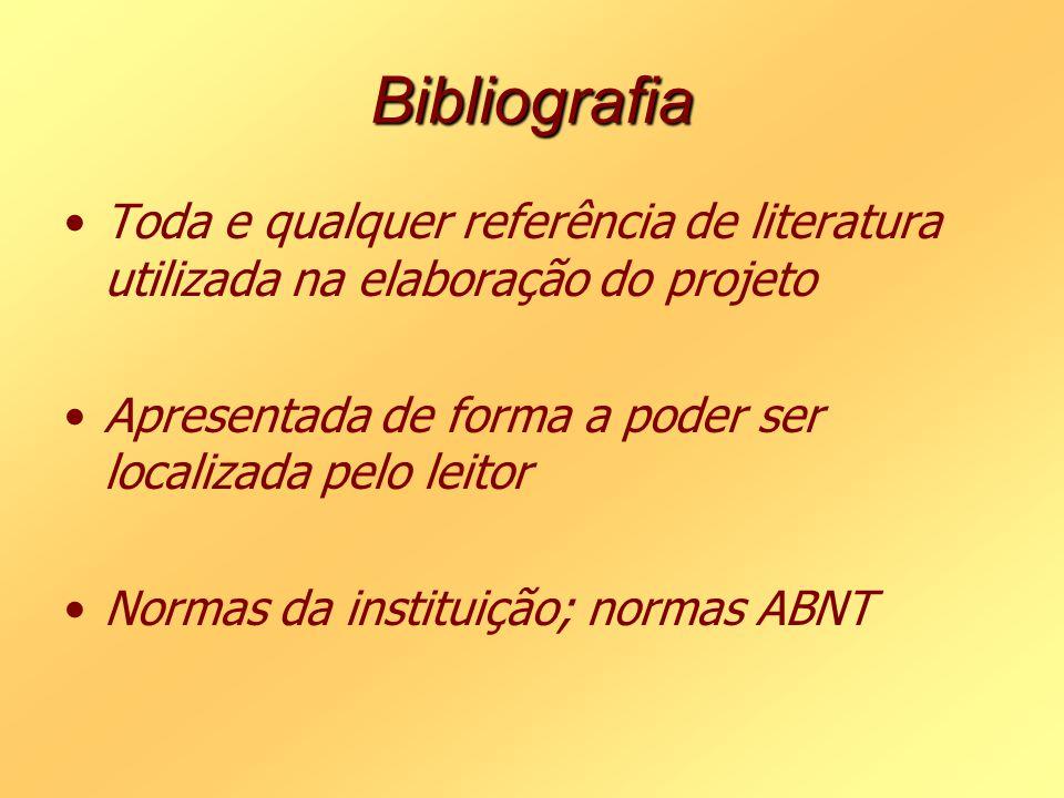 Bibliografia Toda e qualquer referência de literatura utilizada na elaboração do projeto Apresentada de forma a poder ser localizada pelo leitor Norma