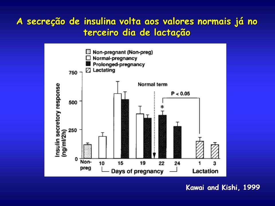 A secreção de insulina volta aos valores normais já no terceiro dia de lactação Kawai and Kishi, 1999