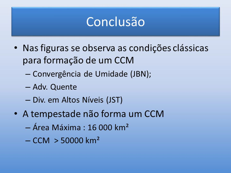 Conclusão Nas figuras se observa as condições clássicas para formação de um CCM – Convergência de Umidade (JBN); – Adv. Quente – Div. em Altos Níveis
