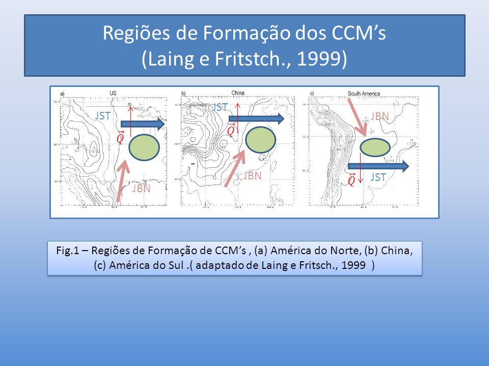 Regiões de Formação dos CCM's (Laing e Fritstch., 1999) Fig.1 – Regiões de Formação de CCM's, (a) América do Norte, (b) China, (c) América do Sul.( ad
