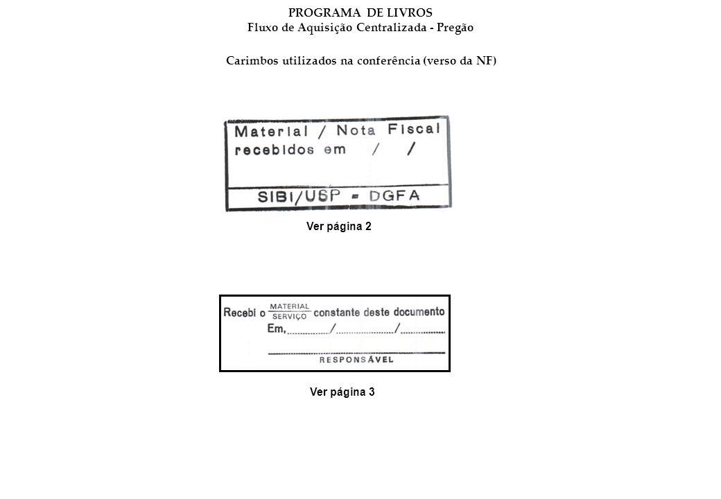 Carimbos utilizados na conferência (verso da NF) Ver página 2 Ver página 3 PROGRAMA DE LIVROS Fluxo de Aquisição Centralizada - Pregão