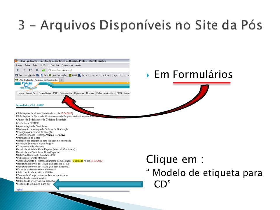  Em Formulários Clique em : Modelo de etiqueta para CD